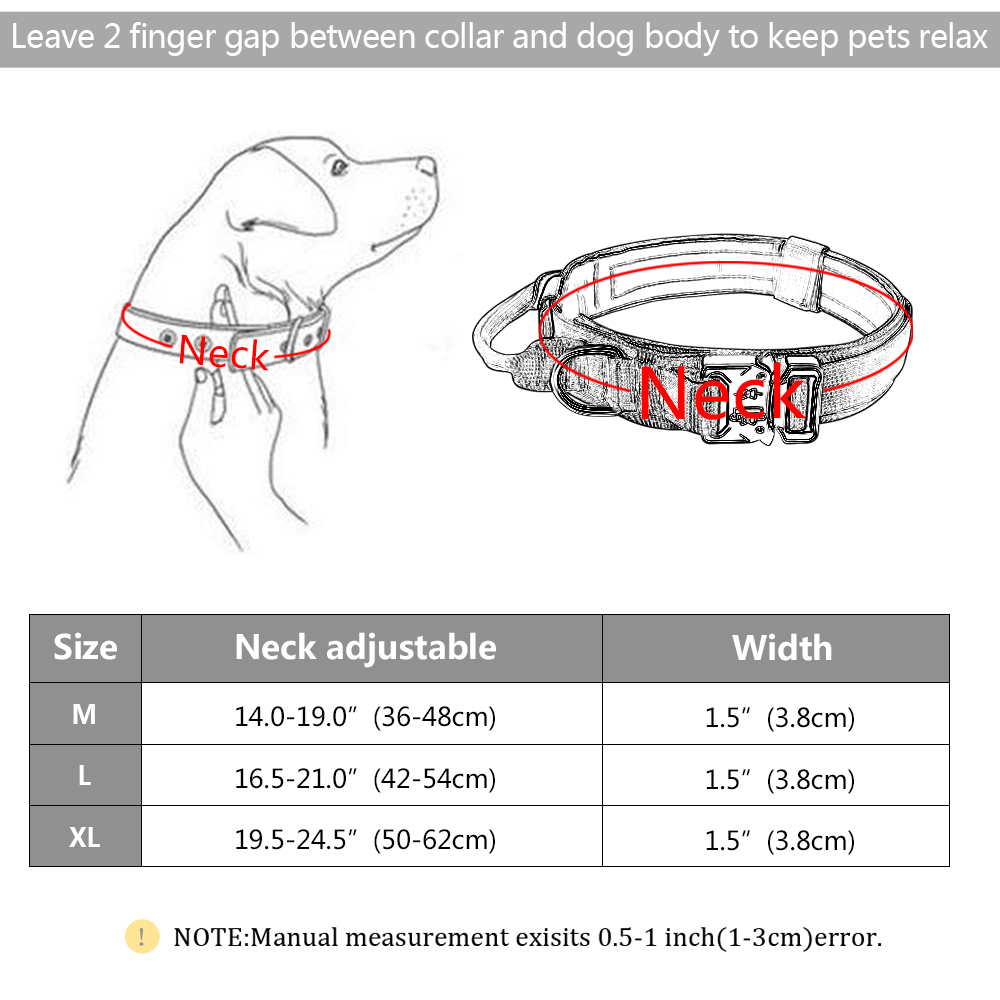 Military Tactical Dog K9 Collar with Elastic Leash