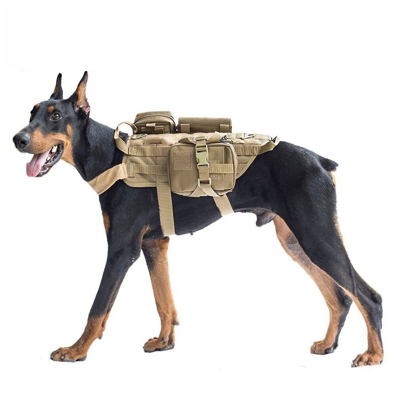 Tactical Service Dog Vest K9 Police Harness with Pouches